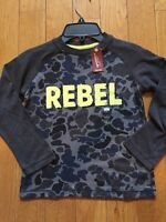 Arizona Boys Sz 6 Long Sleeve T Shirt Gray Camo With Rebel In Yellow