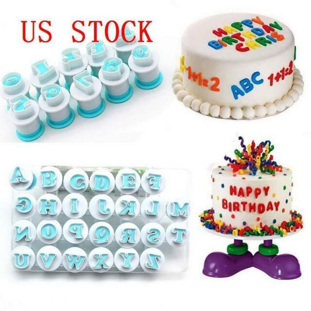 40pcs Alphabet Letter Fondant Moulds Icing Cookie Cutter Number Cake Decorating