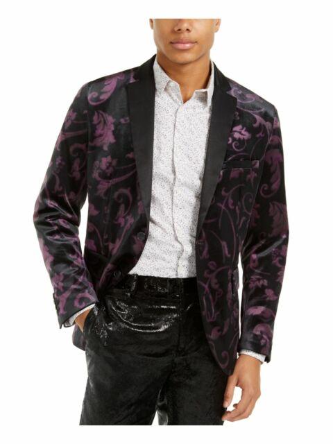 INC Mens Black Single Breasted, Floral Slim Fit Blazer L