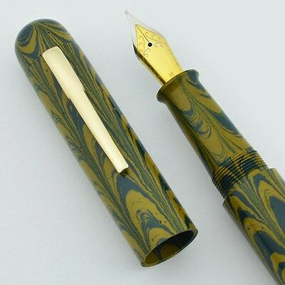 Ranga 4C Ebonite Fountain Pen - Blue Yellow Ripple, Hand Made, JoWo Nib (New)
