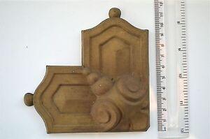 Original antique pressed brass furniture mount mirror cartouche emblem T6