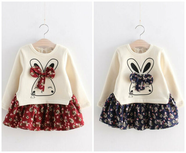 Girls baby Kids fashion autumn spring clothing dress girls party dress bunny