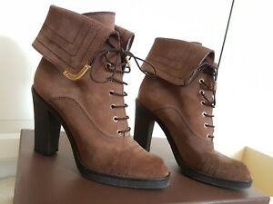 Louis-Vuitton-Lace-Up-Ancle-Boots-Stiefel-Stiefeletten-Suede-Leder-Taupe-37-5