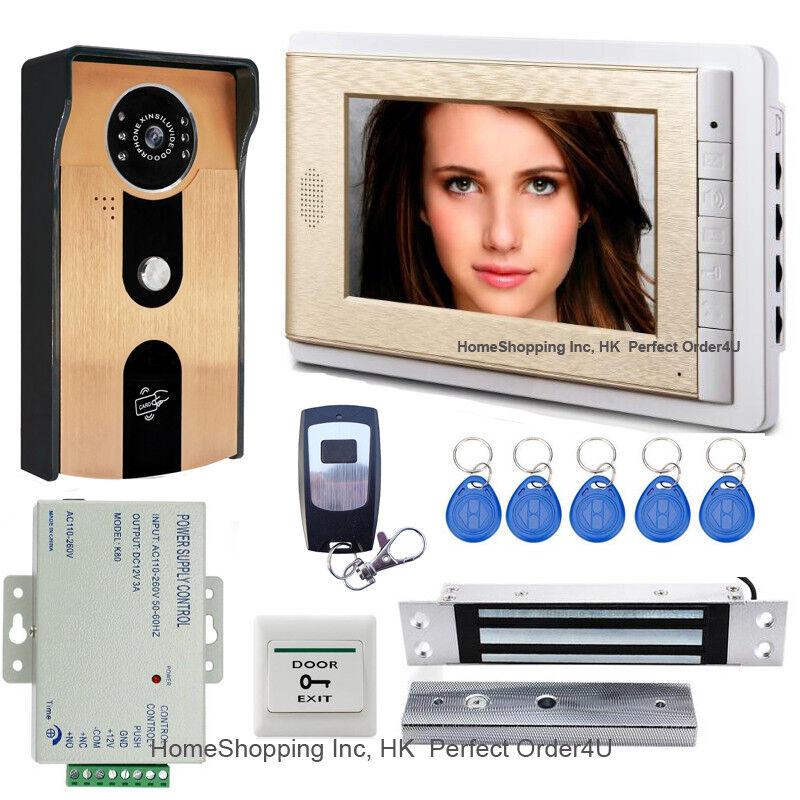 Teléfono Con Cable 7  pulgadas Video Puerta Timbre Intercomunicador De Video + Cámara De Tarjeta de RFID + Cerradura Magnética