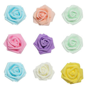 6cm-FOAM-ROSES-pack-of-100-500-Colorfast-Artificial-Flowers-wedding-Decor-Hot-UK