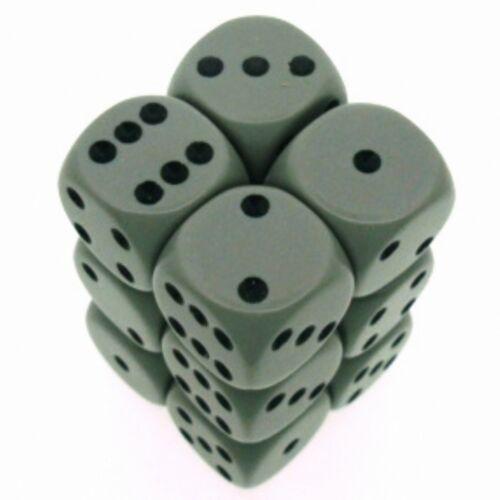 Set 12 d6 Dadi Chessex Opaque Grey black 25610 Dice Block Opaco Grigio CHX