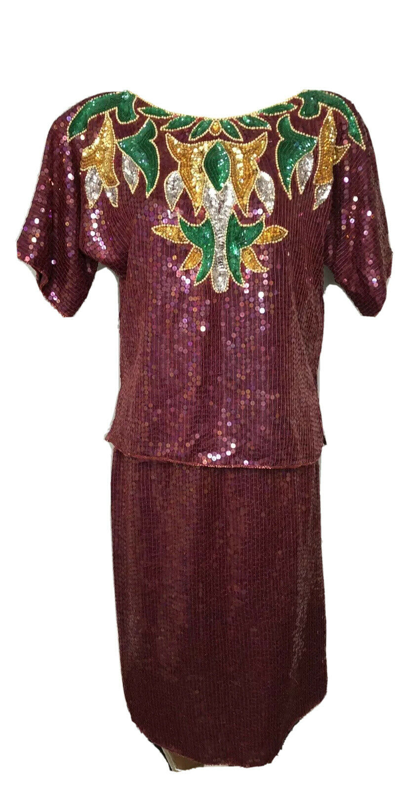Medium M/L Vintage 2 Piece Sequin Silk Beaded Purple Top Skirt Evening Formal