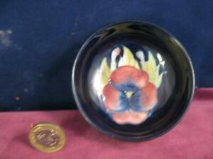 Sweet-Walter-Moorcroft-Pottery-Footed-Bowl-Pansy-Pattern-with-original-label