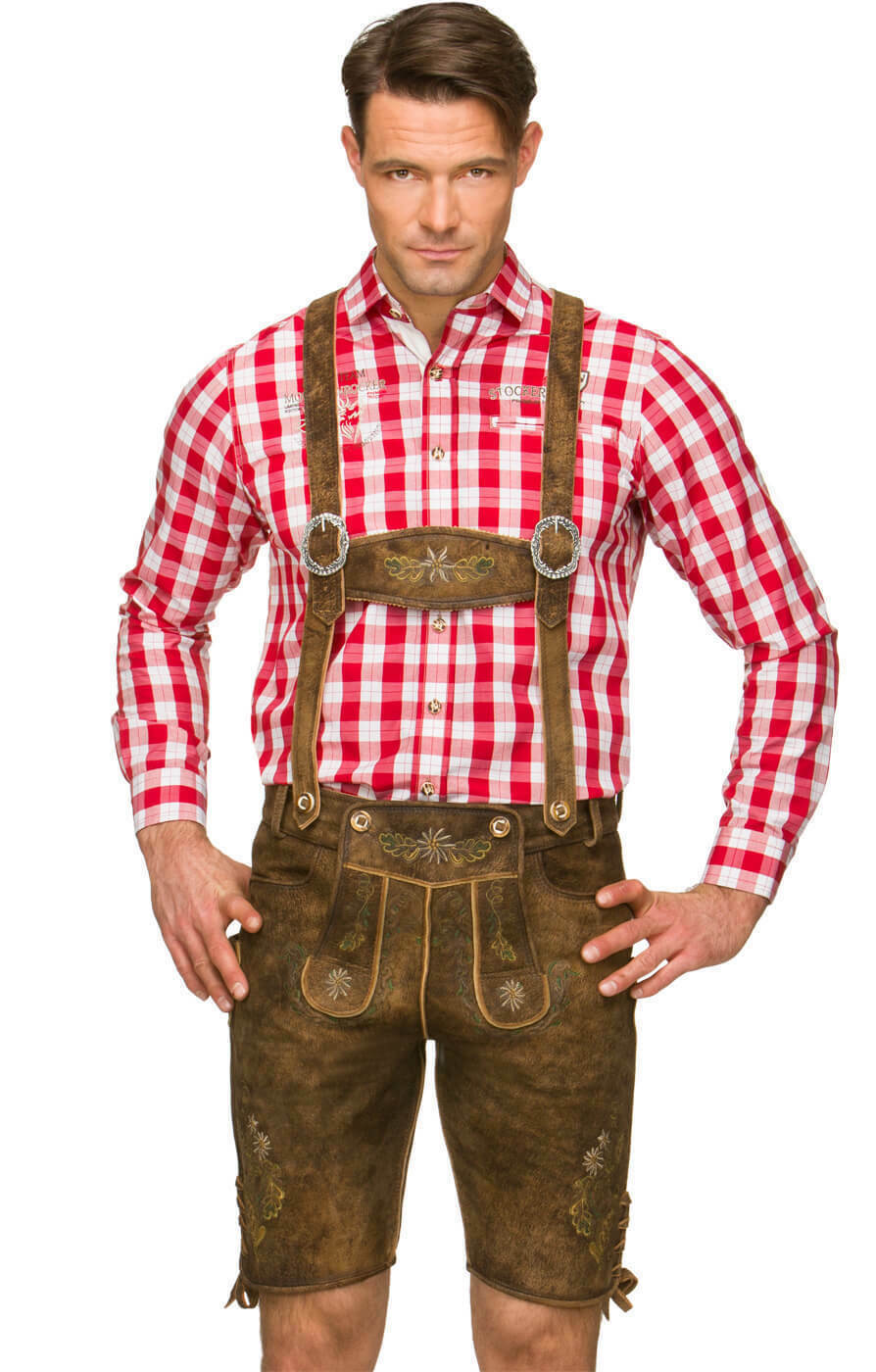 Pantalon en cuir bretelles en biberantik H Fesl biberantik en 6d8b00