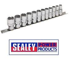"""Sealey 12 Pieza 3//8/"""" cuadrado unidad de Bloqueo de Agarre 6pt Métrico Socket Set AK2741"""