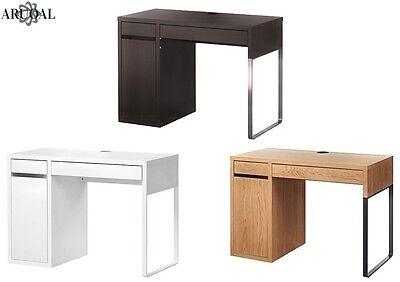Ikea Scrivania Micke Bianca.Ikea Micke Desk Computer Home Office White Oak Effect Black Brown 105x50cm Ebay