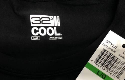 Nwt $75 32 Degrees Cool Men Athletic T Shirt Tee Crew-Neck Underwear Top Black L