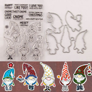 Santa-Claus-Gnome-Clear-Stamp-Cutting-Die-DIY-Scrapbooking-Album-Paper-Card-N-YK