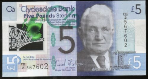 new 2015 Clydesdale Bank £5 Five Pound polymer banknote UNC Scottish currency
