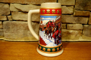Vintage-1993-Budweiser-Holiday-Stein-Collection-Hometown-Holiday-Made-In-Brazil