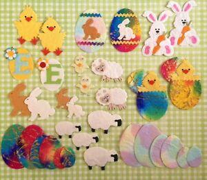 34-Lot-Easter-mulberry-paper-assortment-bunnies-eggs-chicks-sheep-lambs-bunny
