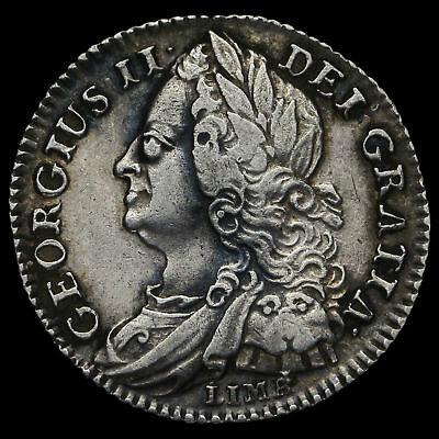 1745 George II Early Milled Silver Lima Sixpence, GVF