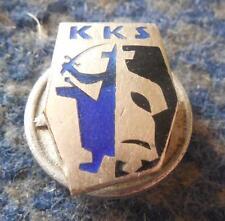 KKS KRAKOW POLAND FENCING CLUB 1930's SILVER 800 VERY RARE SCREW PIN BADGE