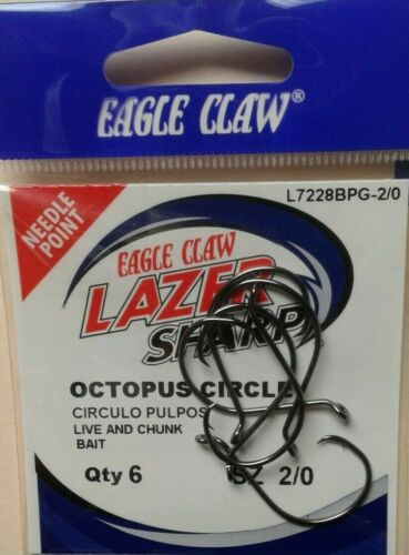 EAGLE CLAW FISHING HOOKS OCTOPUS CIRCLE  SZ 2//0 QTY 6 FREE /& PROMPT SHIPPING