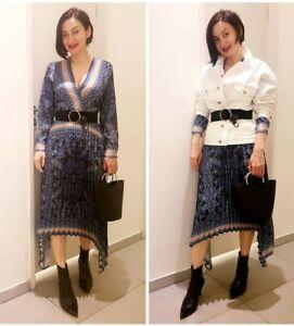 Hm Bloggers Bleu Trendy à Aw2019 Paisley Robe motifs Holidays foncé vendu plissée y8nwPmN0Ov