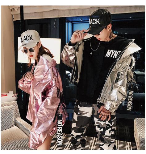 Mens Women/'s Lovers Glitter Metallic Hooded Party Nightclub Oversize Jacket New