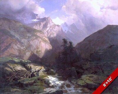 JUNGFRAU SWISS ALPS LANDSCAPE SWITZERLAND PAINTING ART REAL CANVAS PRINT