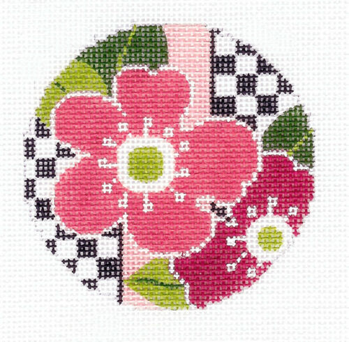 "Flowers /& Checks Brite handpainted Needlepoint Canvas 3/"" Insert or Ornament LEE"