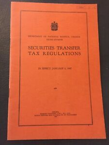 Vintage-1947-Revenue-Canada-Securities-Transfer-Tax-Regulations-Canada-Paper-E63