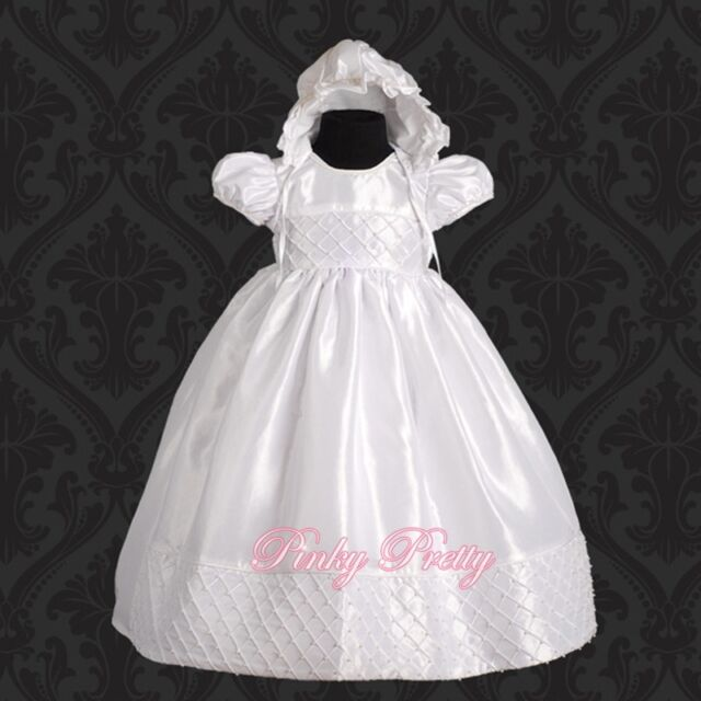 Beaded White Baby Girl Christening Baptism Formal Dress Gown & Bonnet 0m-12m 027