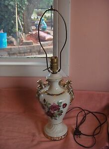 Image Is Loading Vintage 1940 039 S China Lamp Ruby Roses