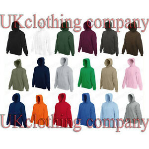Fruit-of-the-Loom-Men-039-s-Hooded-Sweatshirt-Plain-Hoodie-Blank-Pullover-Hoody