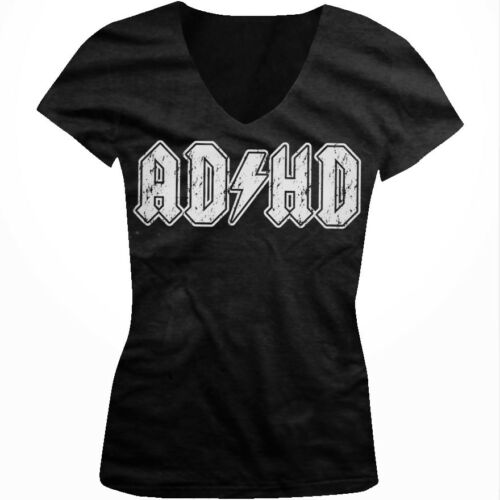 ADHD Lightning Bolt Parody ACDC ADD Entourage Funny Humor Juniors V-neck T-shirt