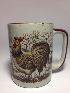Otagiri-Japan-Coffee-Cup-Mug-Chicken-Rooster-Farm-Scene-Ceramic-Embossed-Speckle