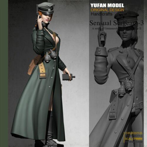 1//24 75mm model German Sensual Sergeant-3 Girl Resin Soldier Unassembled