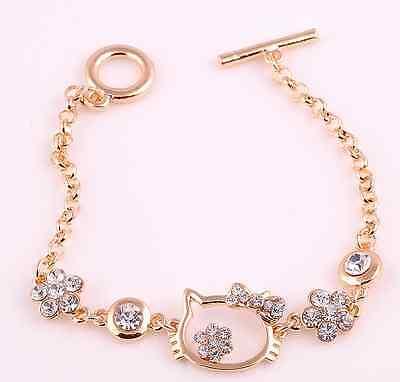 Fashion Golden Hello Kitty Swarovski Elements Crystal Bangle Bracelet Gift P24