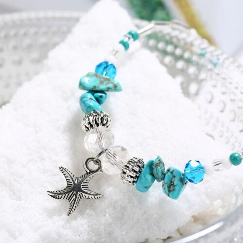 Fashion Femmes Charme Plaqué Argent mer Starfish Bracelet Bracelet Bangle Bijoux