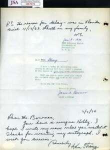 Ken Strong JSA Coa Autograph Hand Signed 1970 Handwritten Letter