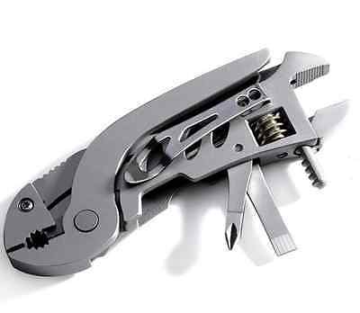 Survival Multi Tools Stainless Steel Folding Jaw Screwdriver Plier Knife Wrench