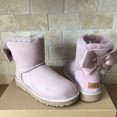 Details about UGG MINI BAILEY BOW II GLAM GREY VIOLET SUEDE SHEEPSKIN WOMEN'S BOOTS SIZE US 10