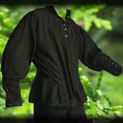 Medieval Men Shirt Solid Bandage Stand-up Collar Knight Tops Without Belt Glitzy