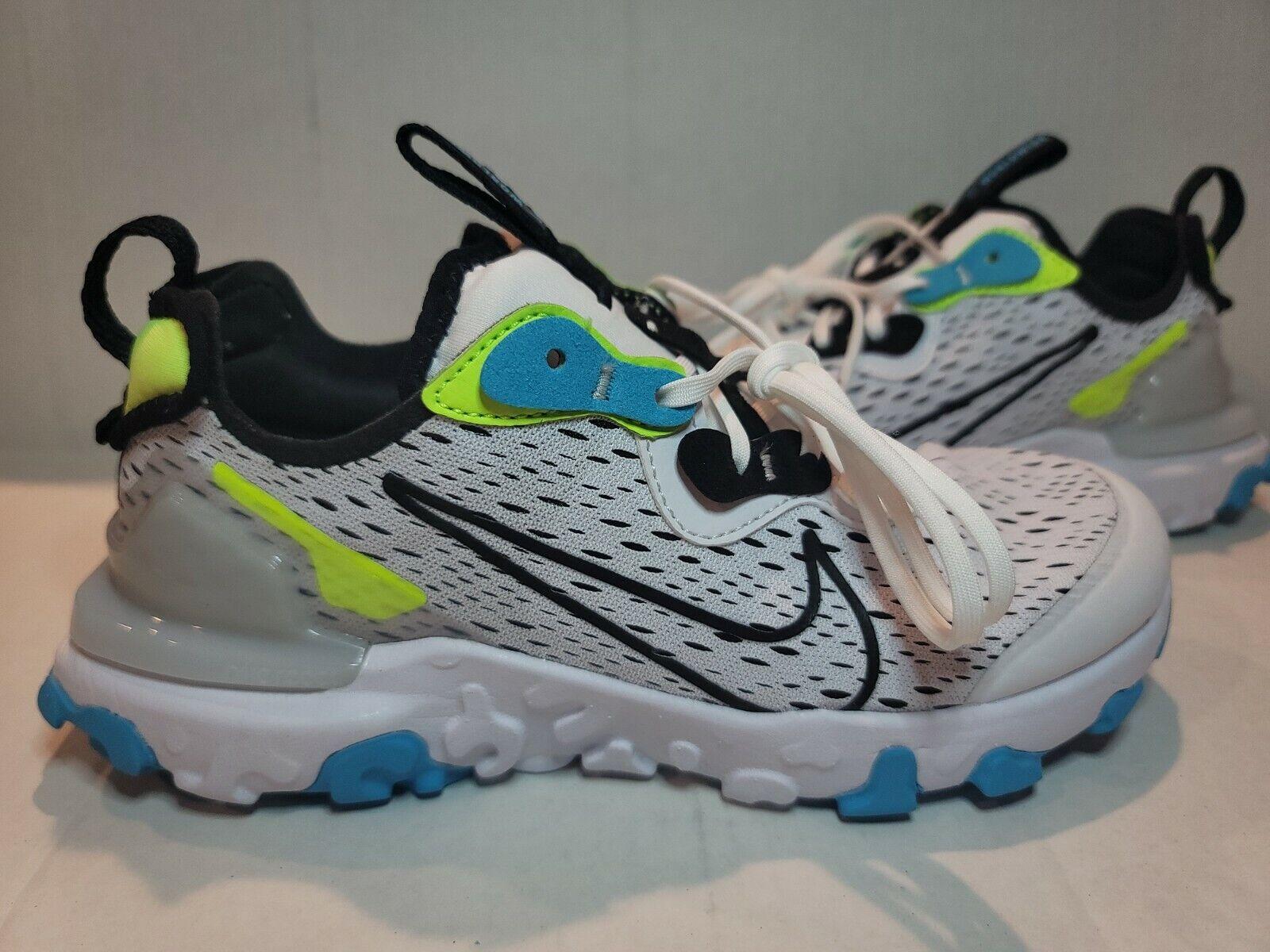 Nike React Vision Worldwide GS White Black Volt Blue Athletic ...