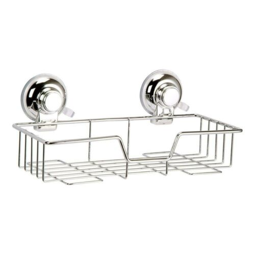 Super Suction Chrome Wire Bathroom Basket CaddyVertexNo Drilling!