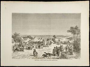 1860-Camp-Tuareg-Africa-Desert-Engraving-on-Wood