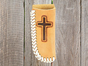 Leather-CROSS-KNIFE-SHEATH-Holder-Natural-Leather-Laced-Edge-Small-Large-16