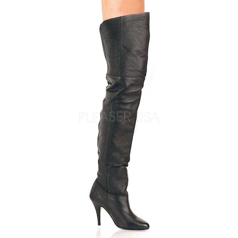 PleaserUSA botas altas-botas Legend - 8868 cuero negro