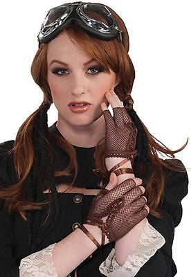Steampunk - FIngerless Brown Fishnet Gloves