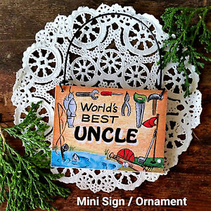 DecoWords-Mini-Sign-Wood-Ornament-Worlds-Best-UNCLE-gift-family-members-NEW-USA