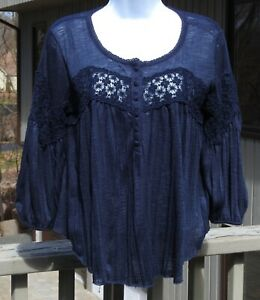 Free-People-Sz-S-Urban-Outfitters-3-4-Sleeve-Lace-amp-Semi-Sheer-Top-Boho-Festival