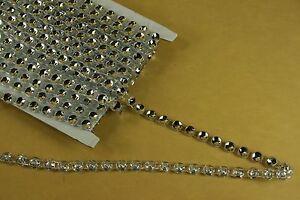 10 Yards Single FAUX RHINESTONE Look Silver Plastic Ribbon Band Choose Size