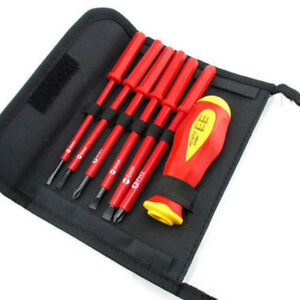 Red-7Pcs-Multi-purpose-Electrician-039-s-Insulated-Electrical-Hand-Screwdriver-Tool